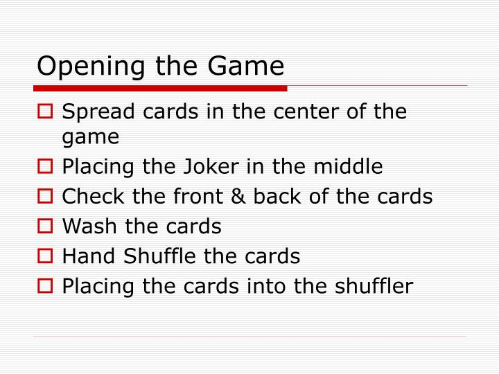 Opening the Game