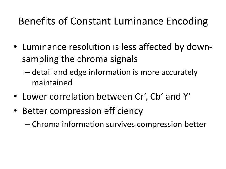 Benefits of Constant Luminance Encoding