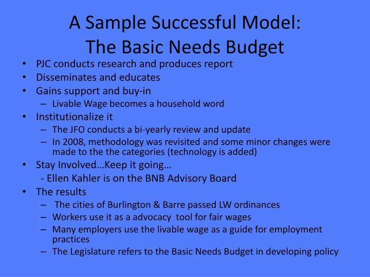 A Sample Successful Model: