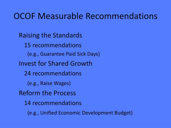 OCOF Measurable Recommendations