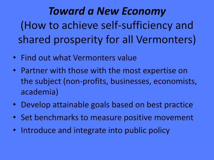 Toward a New Economy