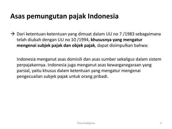 Asas pemungutan pajak Indonesia