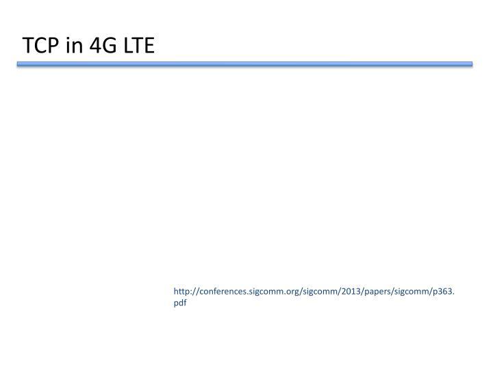 TCP in 4G LTE
