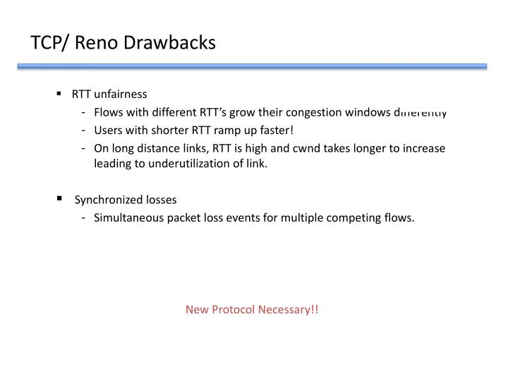 TCP/ Reno Drawbacks