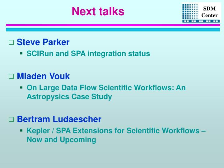 Next talks