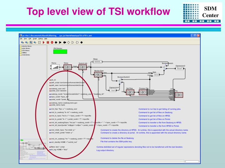 Top level view of TSI workflow