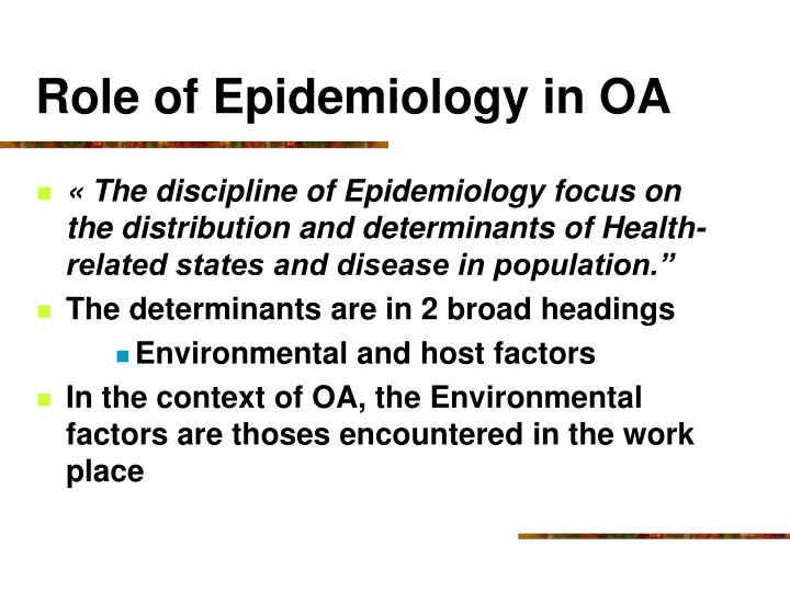 Role of Epidemiology in OA