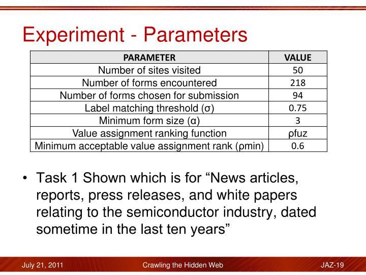 Experiment - Parameters