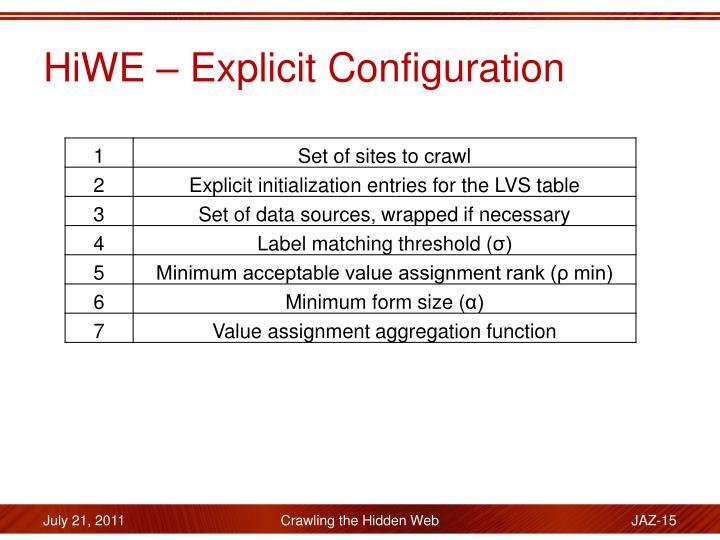 HiWE – Explicit Configuration
