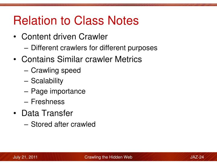 Relation to Class Notes