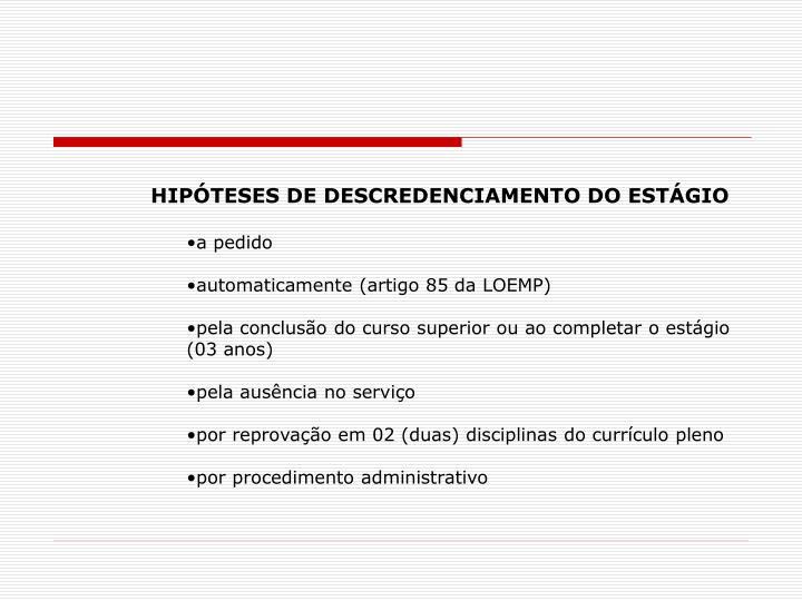 HIPÓTESES DE DESCREDENCIAMENTO DO ESTÁGIO