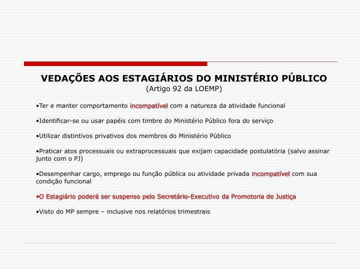 VEDAÇÕES AOS ESTAGIÁRIOS DO MINISTÉRIO PÚBLICO