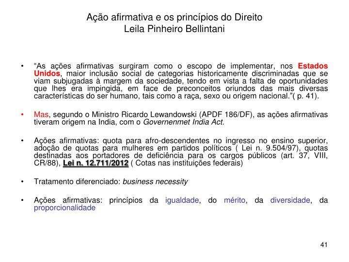Ação afirmativa e os princípios do Direito