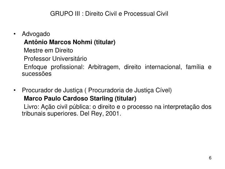 GRUPO III : Direito Civil e Processual Civil