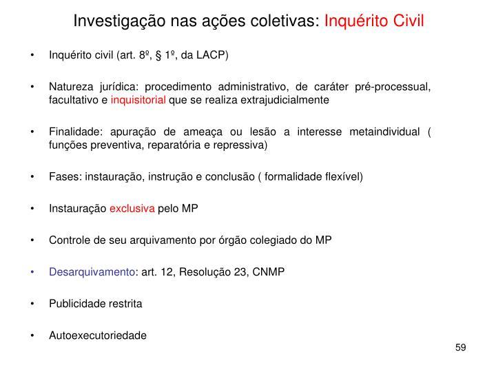 Investigação nas ações coletivas: