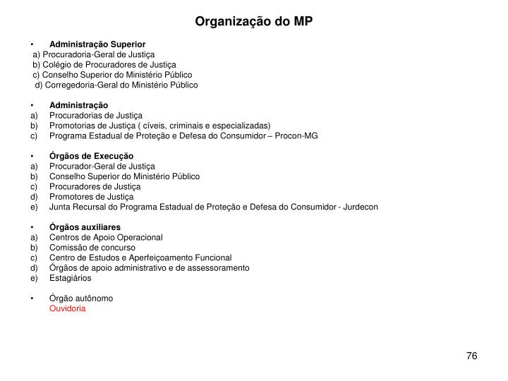 Organização do MP