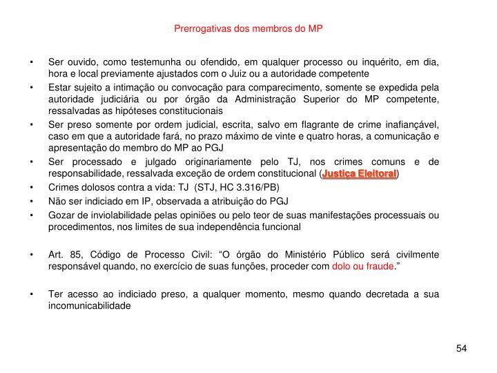 Prerrogativas dos membros do MP