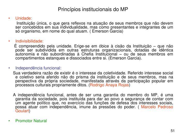 Princípios institucionais do MP