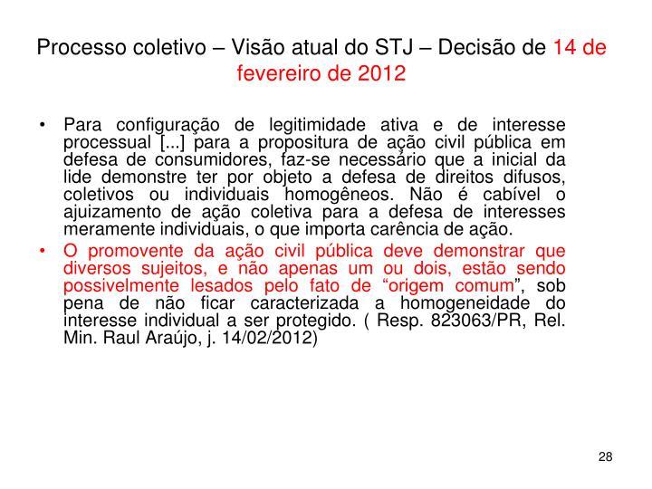 Processo coletivo – Visão atual do STJ – Decisão de