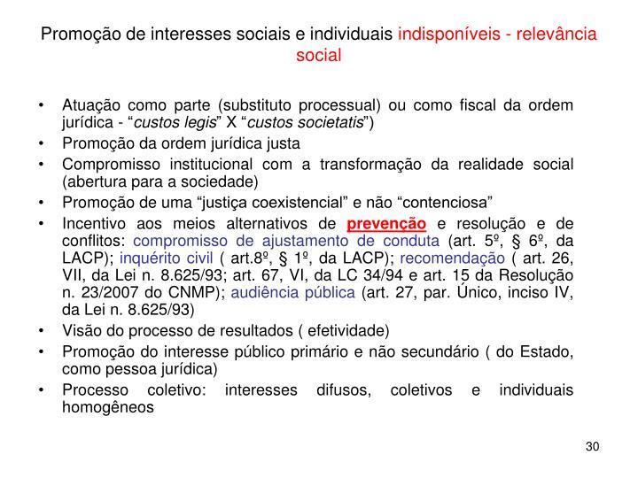 Promoção de interesses sociais e individuais