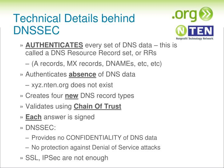 Technical Details behind DNSSEC