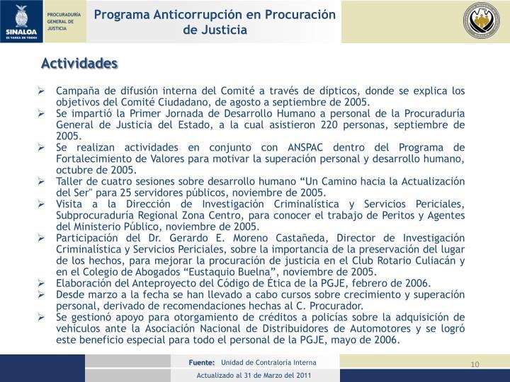Programa Anticorrupción en Procuración de Justicia