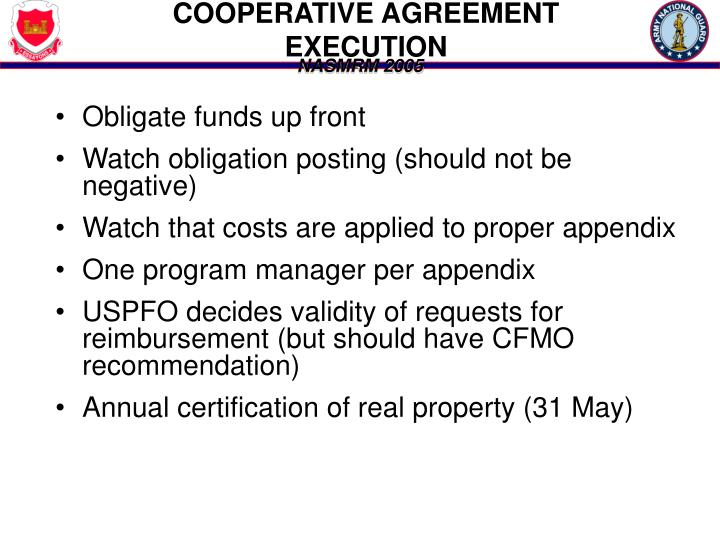 COOPERATIVE AGREEMENT EXECUTION