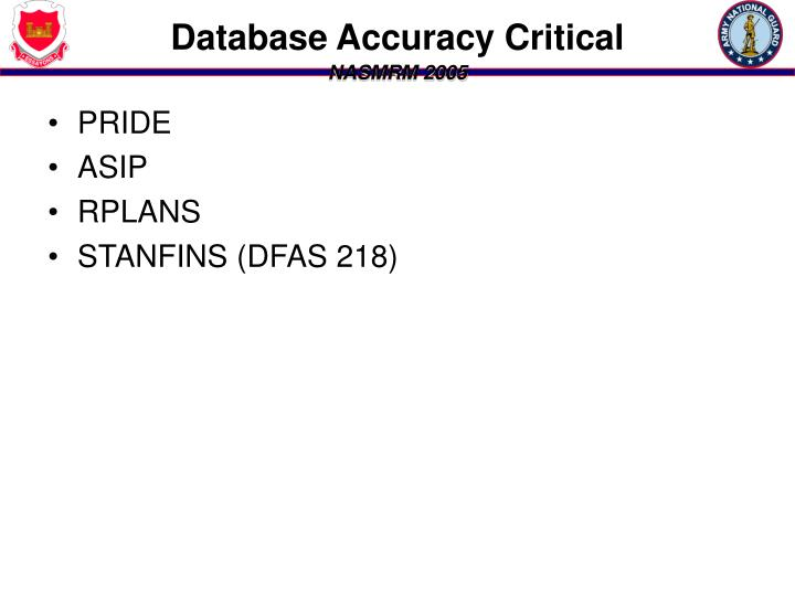 Database Accuracy Critical
