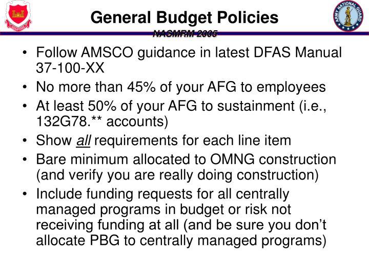General Budget Policies
