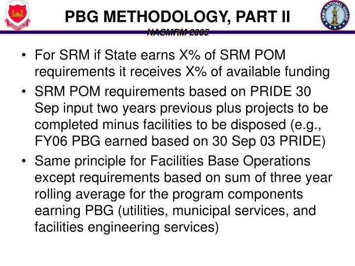 PBG METHODOLOGY, PART II