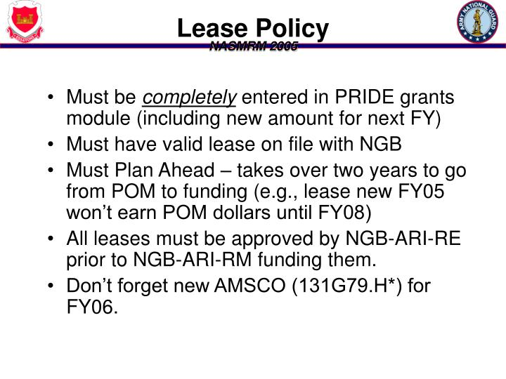 Lease Policy