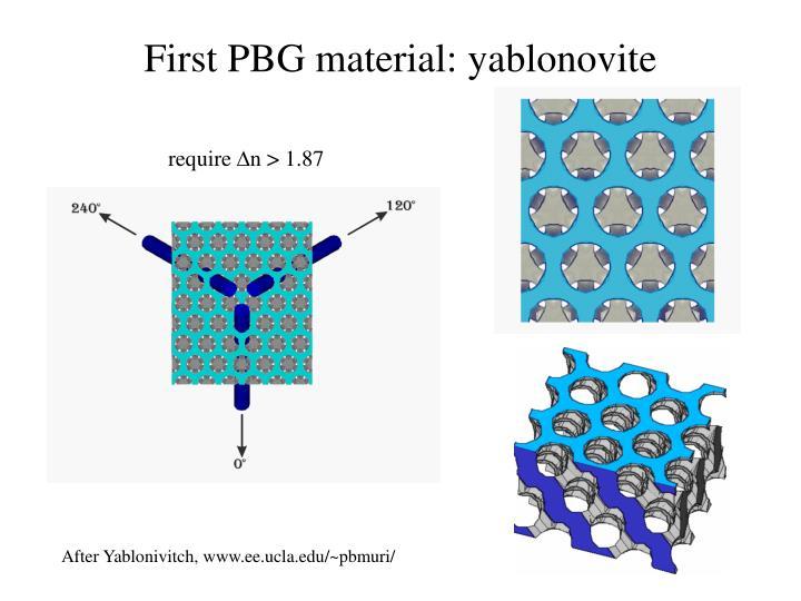 First PBG material: yablonovite