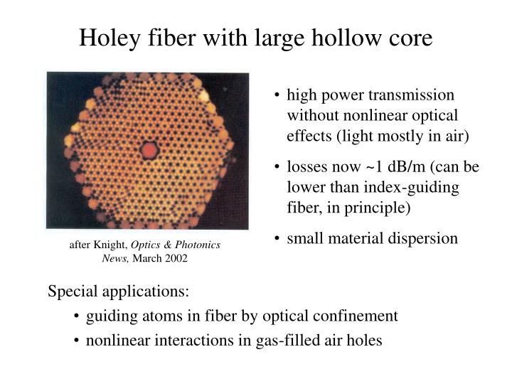 Holey fiber with large hollow core