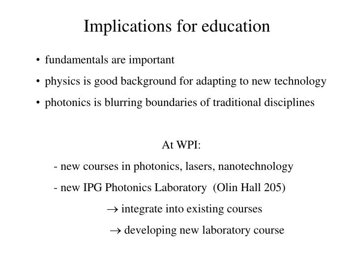 Implications for education