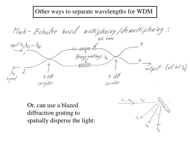 Other ways to separate wavelengths for WDM