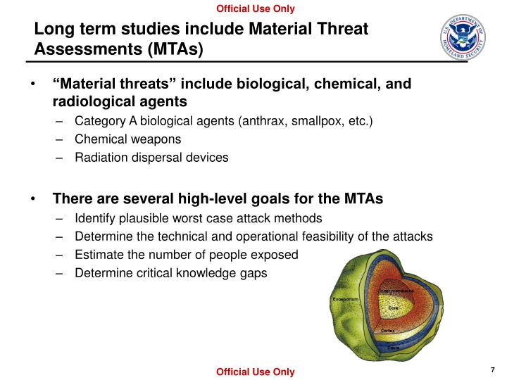 Long term studies include Material Threat Assessments (MTAs)