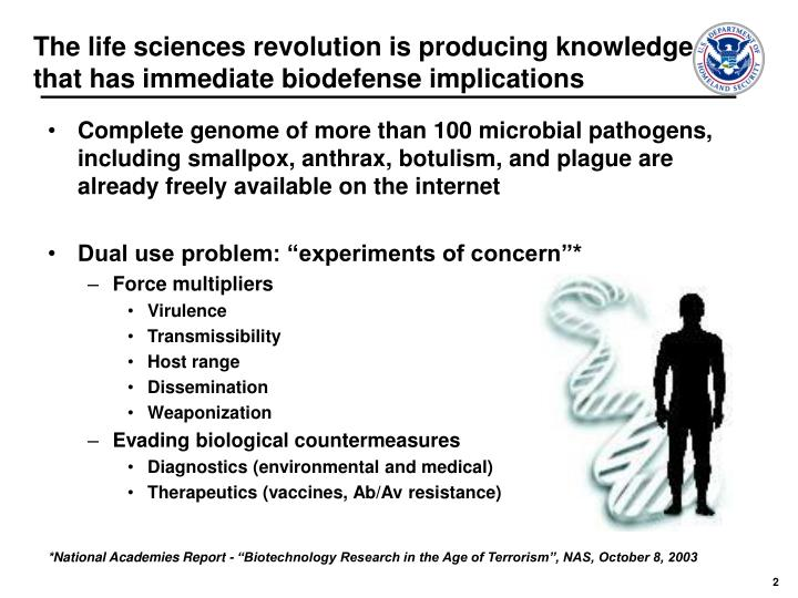 The life sciences revolution is producing knowledge that has immediate biodefense implications