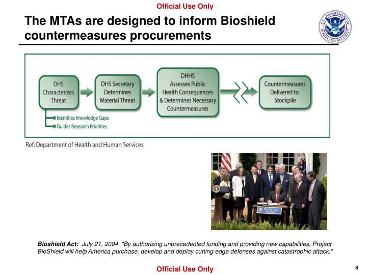 The MTAs are designed to inform Bioshield countermeasures procurements