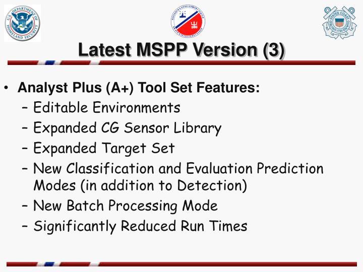 Latest MSPP Version (3)
