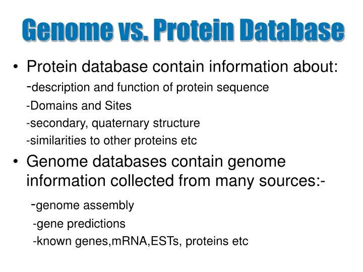 Genome vs. Protein Database