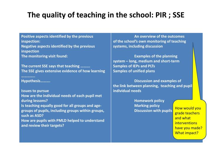 The quality of teaching in the school: PIR ; SSE