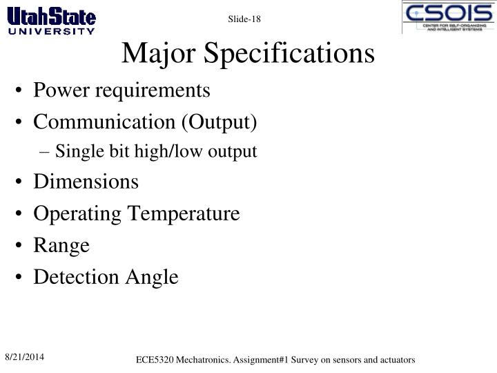 Major Specifications