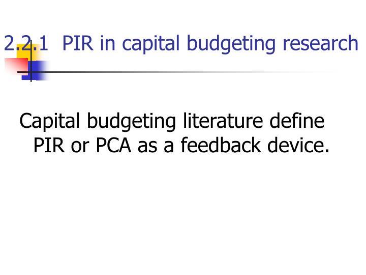 2.2.1  PIR in capital budgeting research