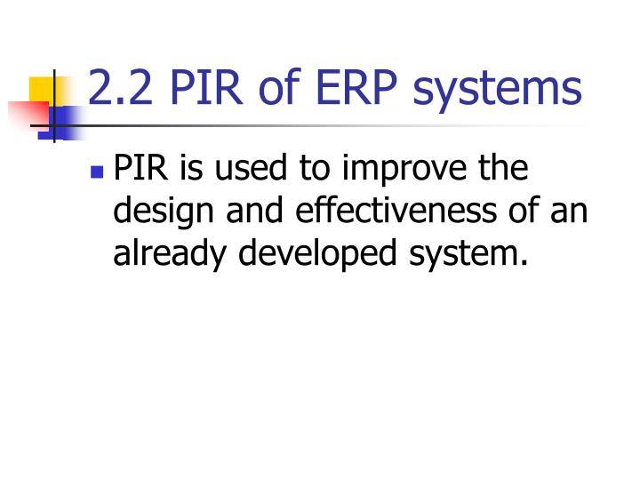 2.2 PIR of ERP systems