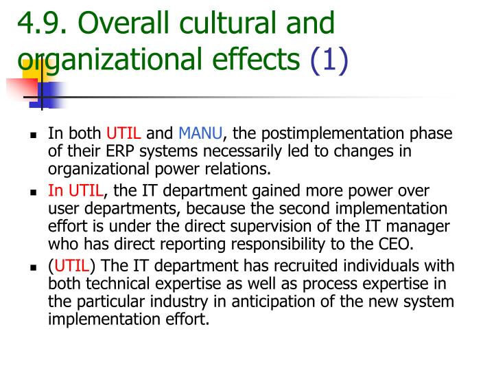4.9. Overall cultural and organizational effects