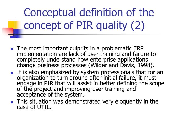 Conceptual definition of the concept of PIR quality (2)
