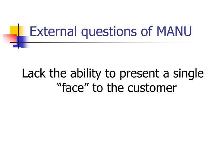 External questions of MANU
