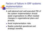 factors of failure in erp systems implementation2