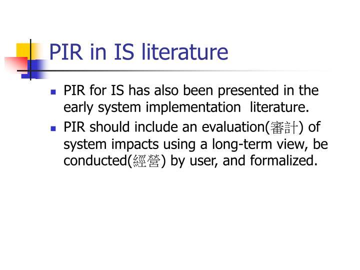 PIR in IS literature