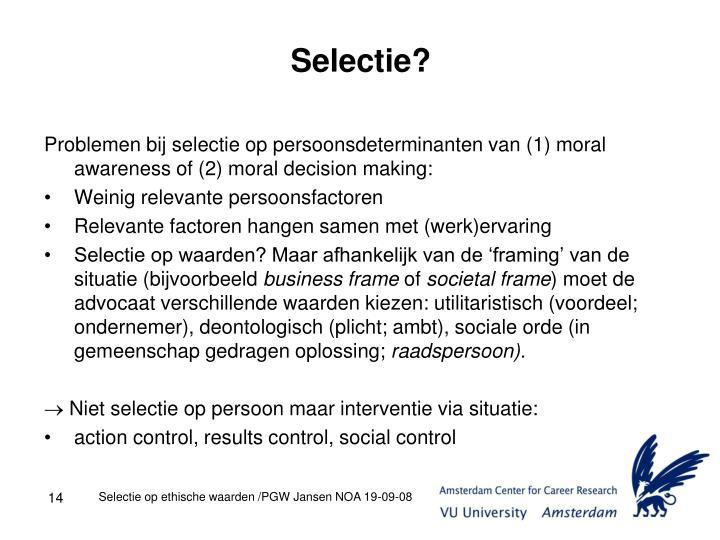 Selectie?